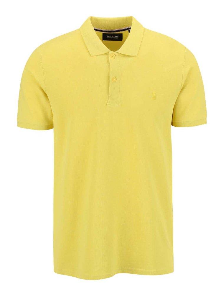 Tricou Polo ONLY & SONS Pique galben