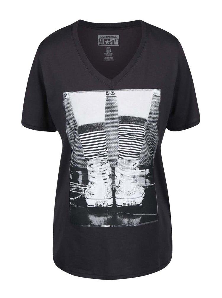 Šedé dámské tričko s véčkovým výstřihem Converse