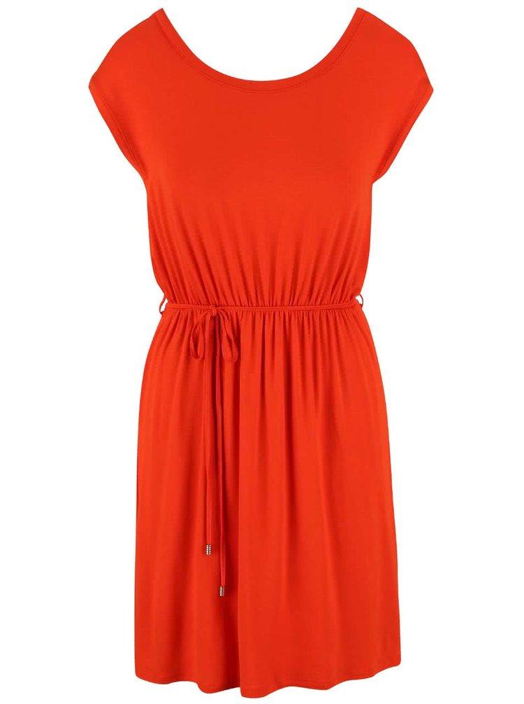 Oranžové šaty so šnúrkou v páse Dorothy Perkins Petite