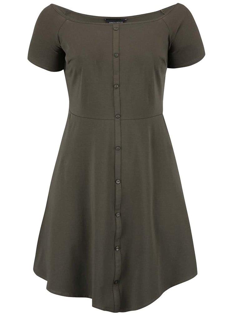 Khaki šaty s knoflíčky Dorothy Perkins Curve