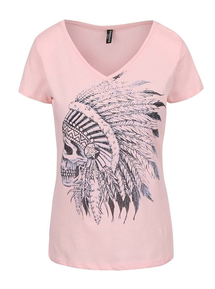 Růžové tričko s lebkou Madonna