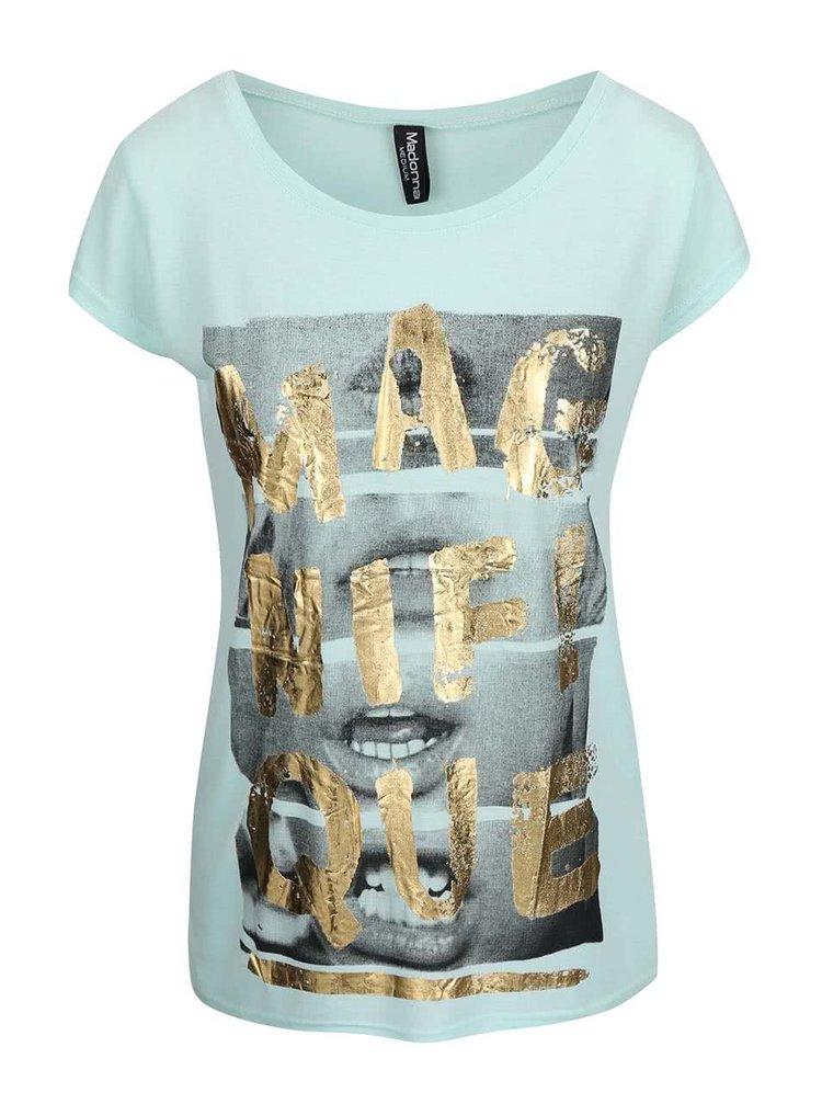 Mentolové tričko s nápisem ve zlaté barvě Madonna