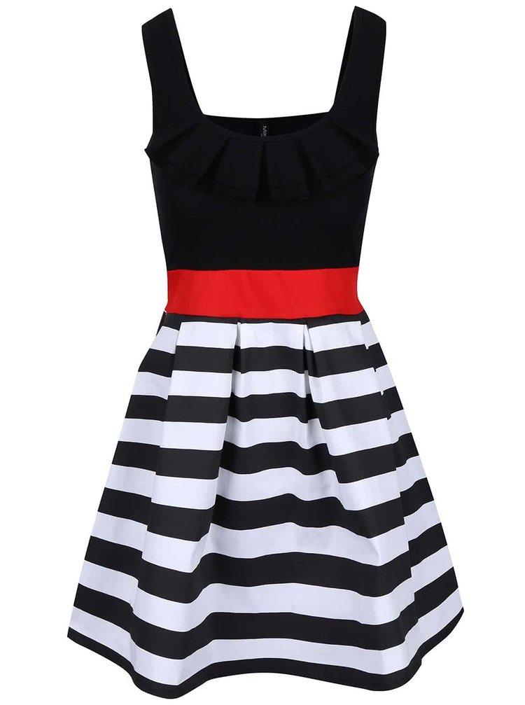 Bílo-černé šaty s červenou stuhou Madonna
