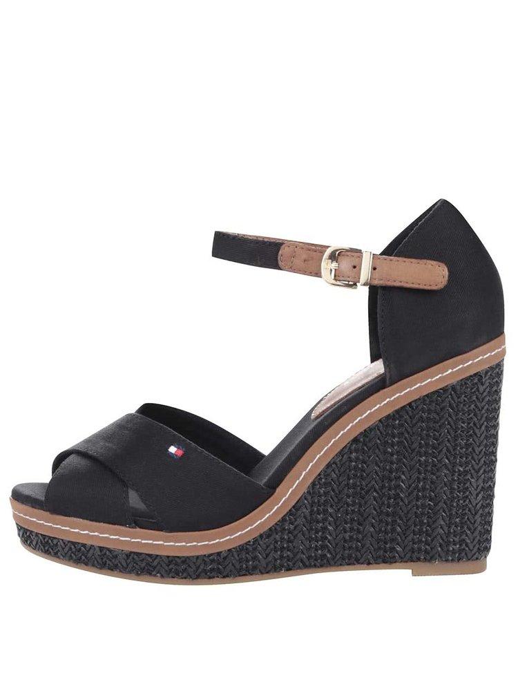 Čierne dámske bavlnené topánky na platforme Tommy Hilfiger