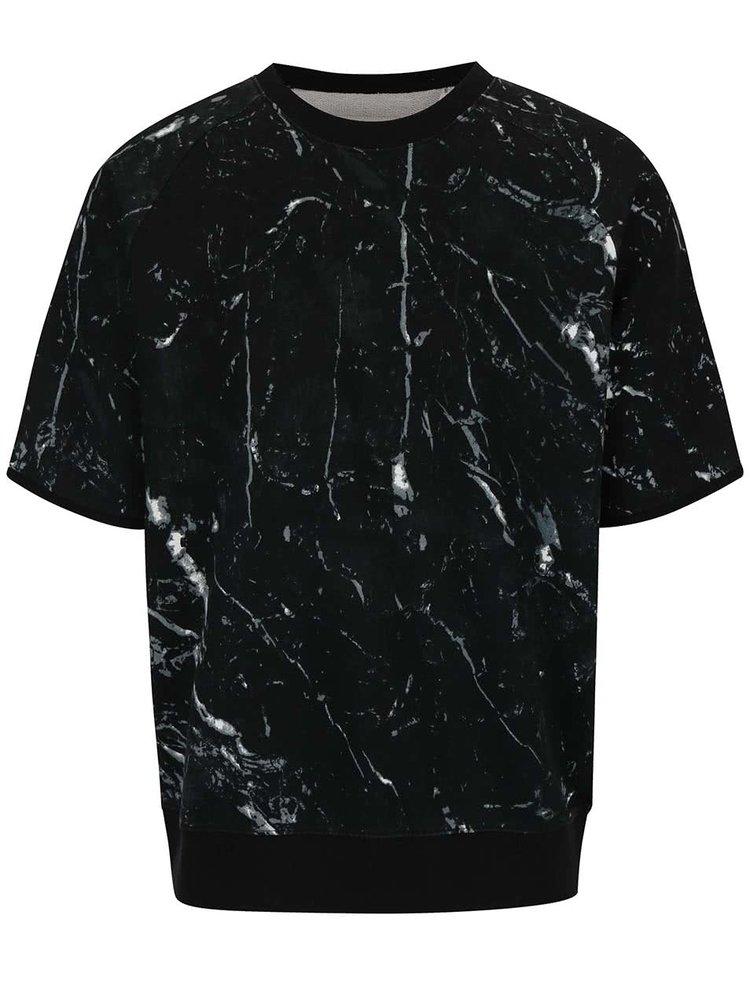 Černá vzorovaná oversize mikina s krátkým rukávem Shine Original Romeo