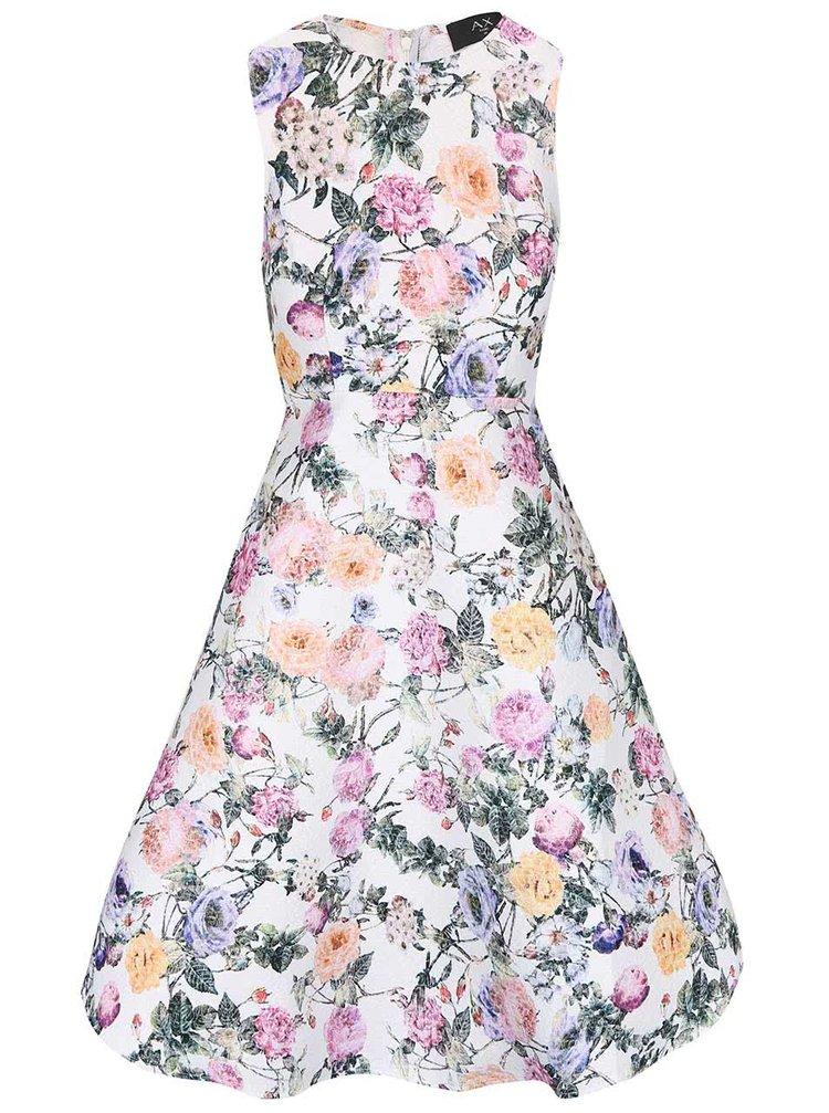 Krémové kvetované šaty AX Paris