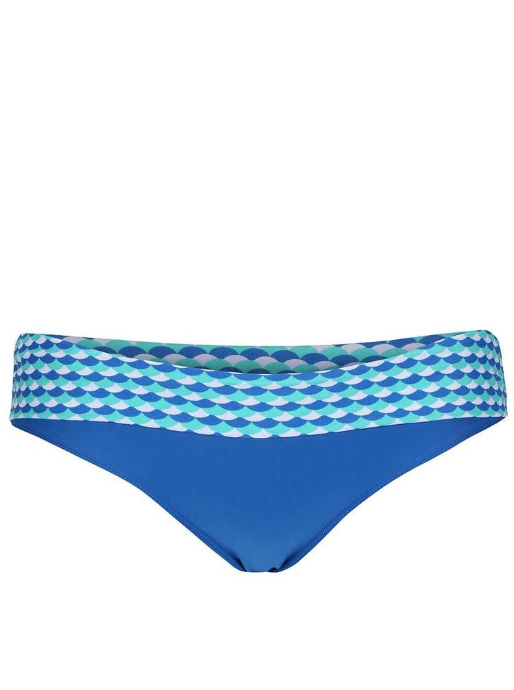 Modrý spodný diel plaviek so vzorovaným lemom Curvy Kate Atlantis