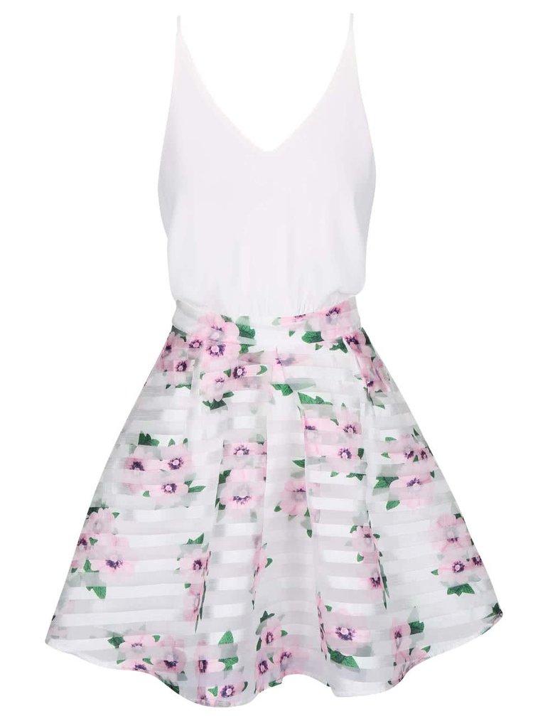 Krémové šaty na ramienka s kvetovanou sukňou AX Paris