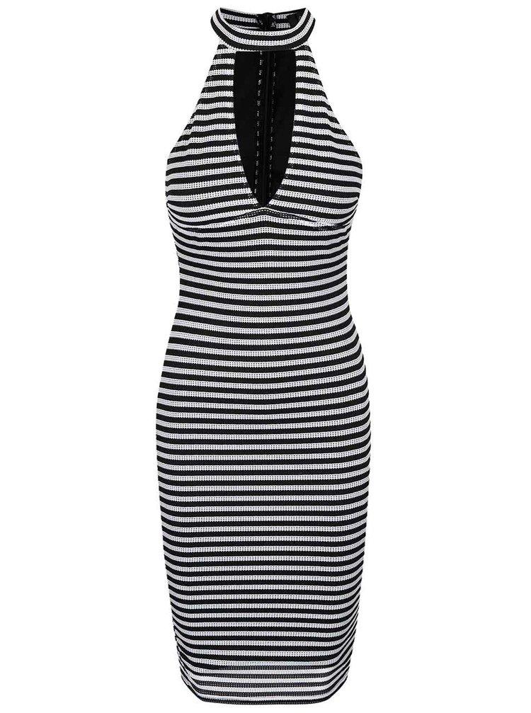 Rochie în dungi alb cu negru si perforații - AX Paris