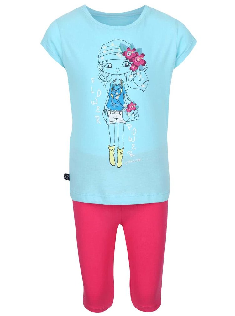 Set colanți și tricou de fete North Pole Kids roz cu albastru