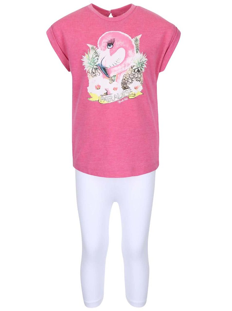 Set holčičích bílých legín a růžového trička North Pole Kids