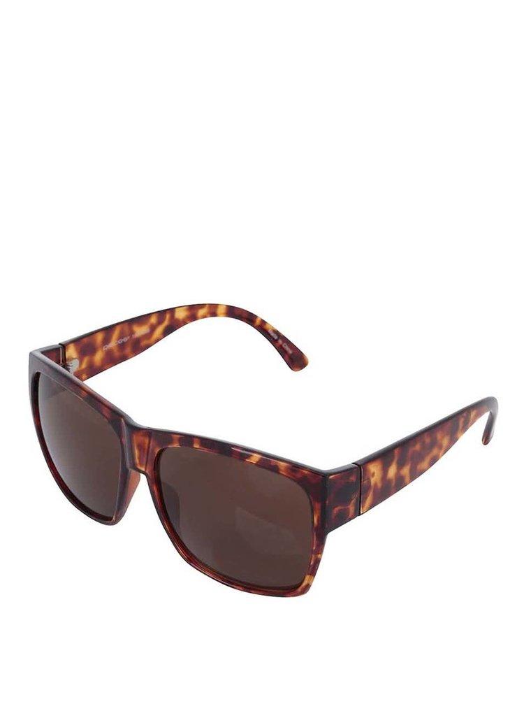 Hnědé želvovinové sluneční brýle Pieces Birra
