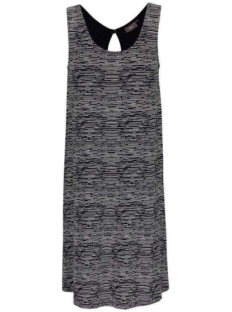 Černé žíhané šaty ICHI Lisa