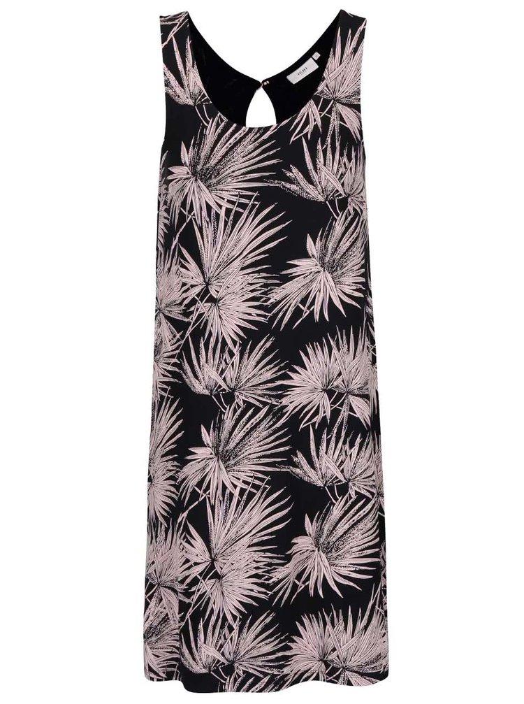 Čierne šaty s motívmi listov v ružovej farbe ICHI Lisa