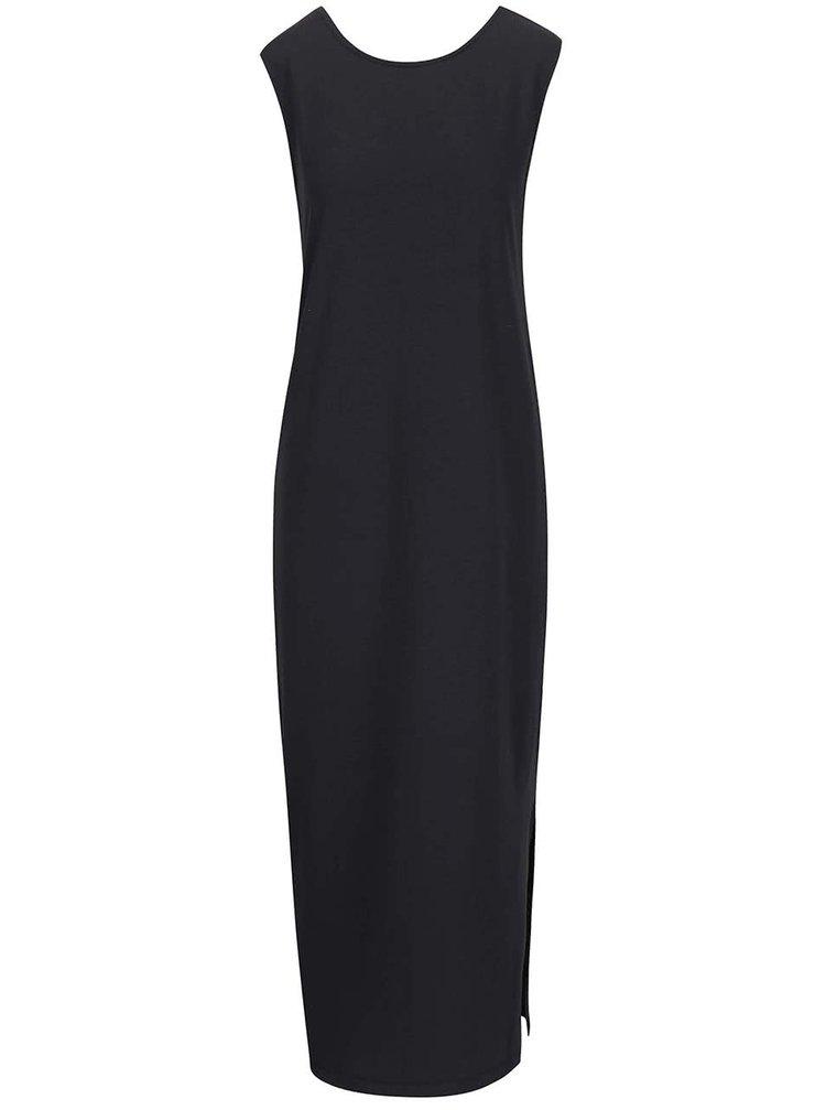 Čierne dlhé šaty s okrúhlym výstrihom ICHI Lalulu ICHI Lalulu