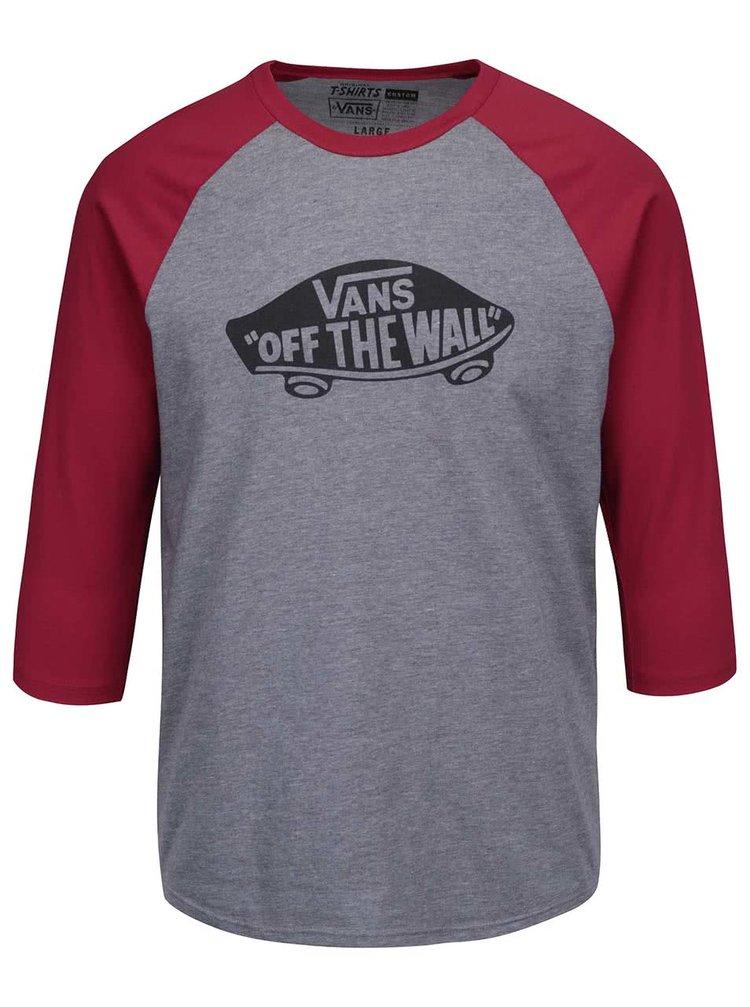 Červeno-šedé žíhané pánské triko s 3/4 rukávy a potiskem Vans Raglan