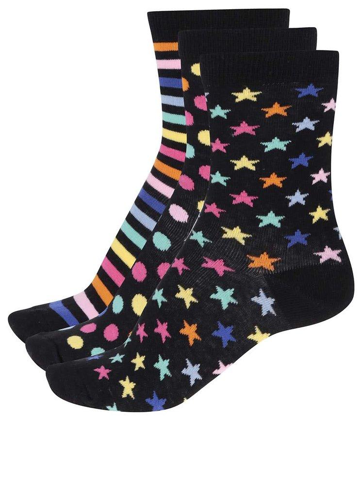 Sada tří černých dámských/holčičích ponožek s barevným vzorem Oddsocks Twinkle