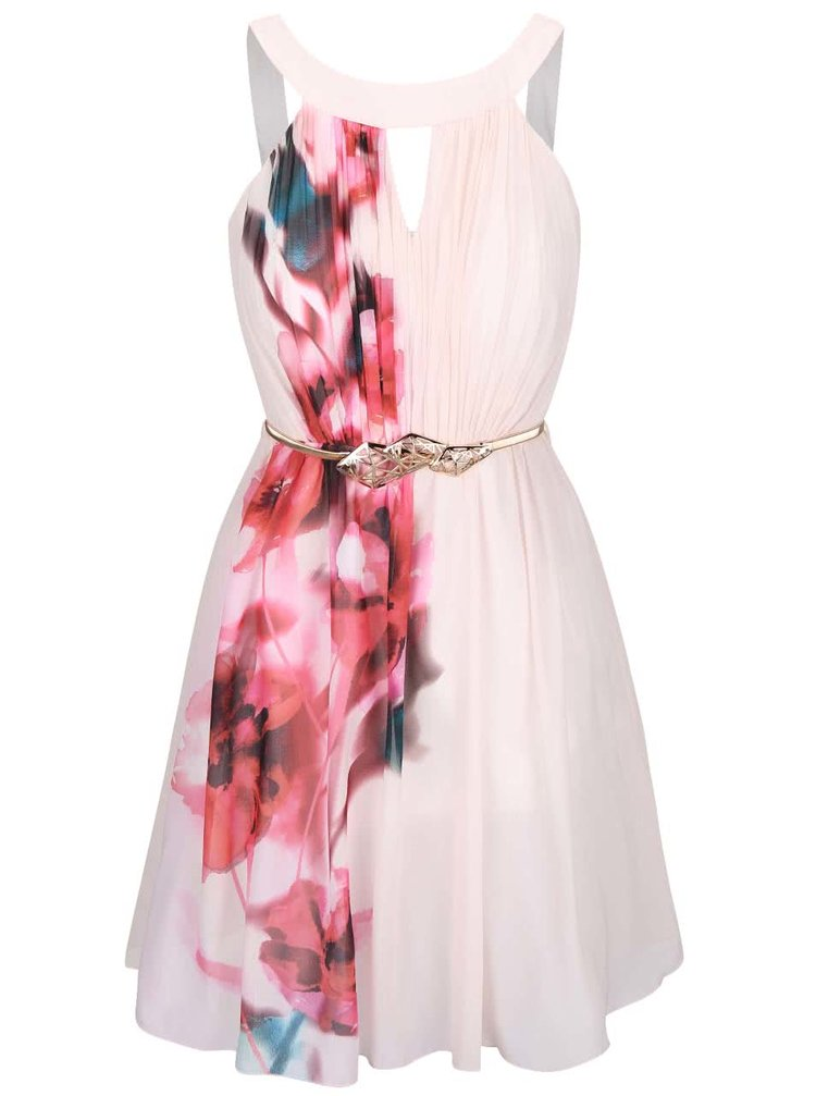 Svetloružové kvetované šaty s opaskom Little Mistress