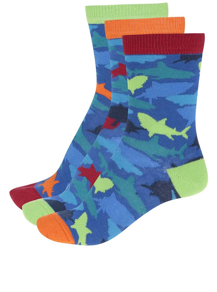 Súprava troch modrých chlapčenských ponožiek so žralokmi Oddsocks Shark