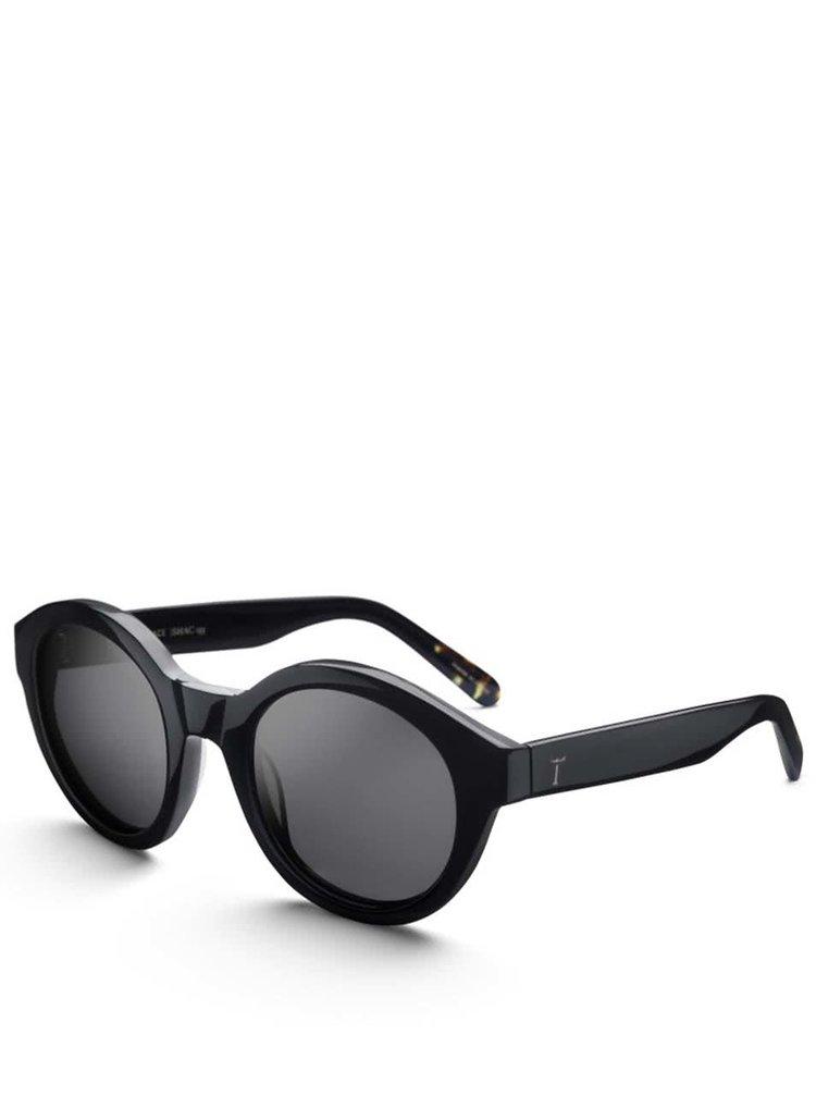 Čierne dámske okrúhle lesklé acetátové slnečné okuliare TRIWA Midnight Grace