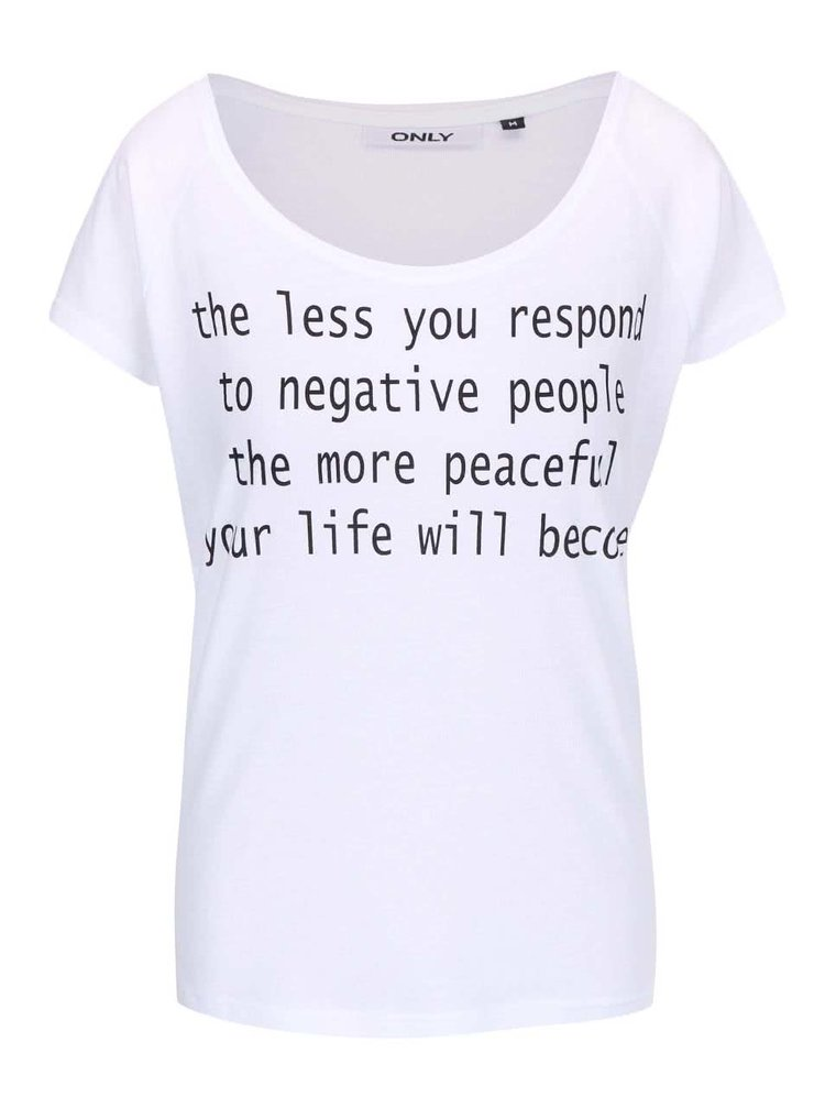 Biele tričko s nápisom ONLY