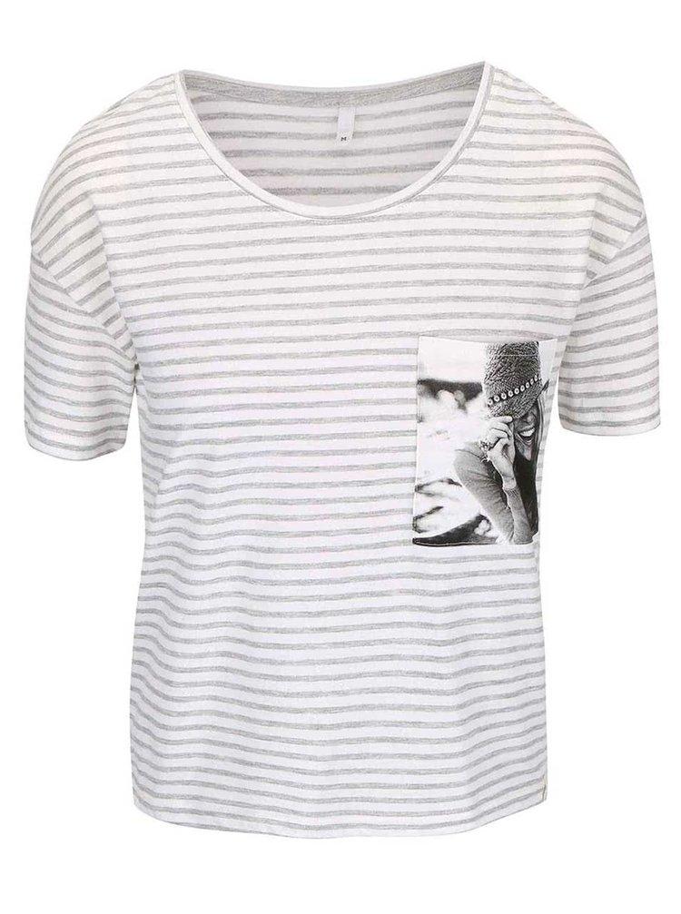 Krémové tričko s šedými pruhy ONLY Daze
