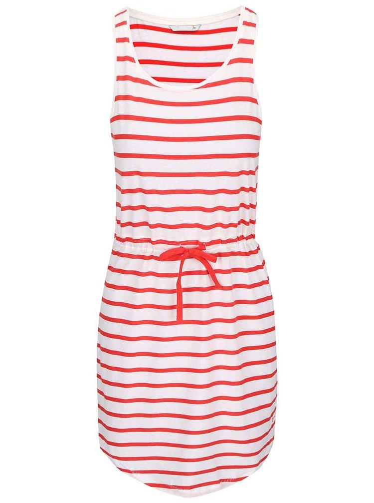 Červeno-krémové šaty so stiahnutím v páse ONLY May