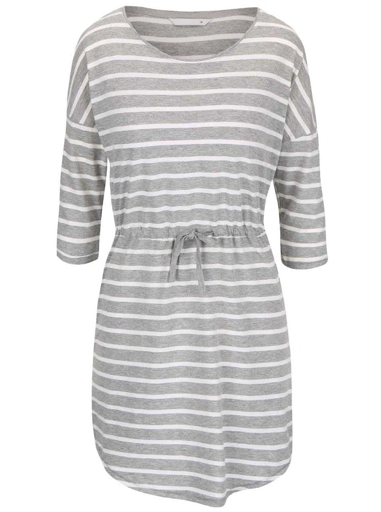 Krémovo-sivé pruhované šaty s 3/4 rukávom ONLY May