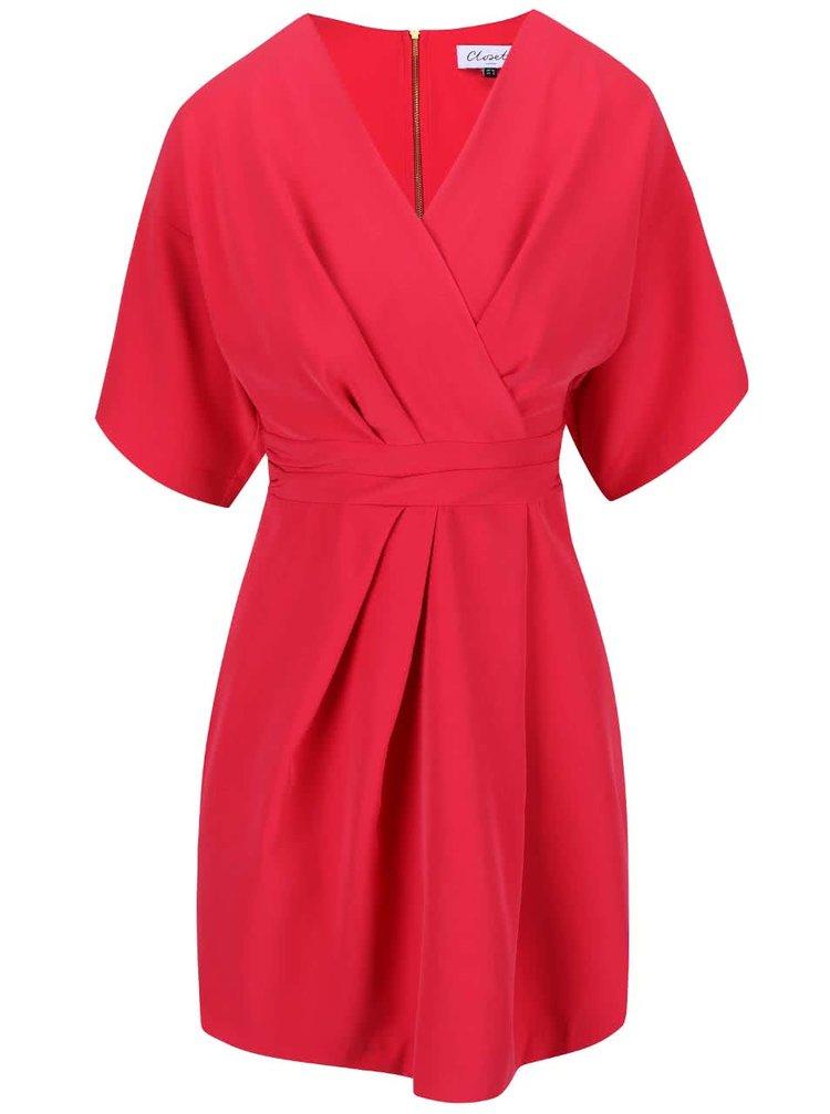 Malinové šaty s kimonovými rukávy Closet