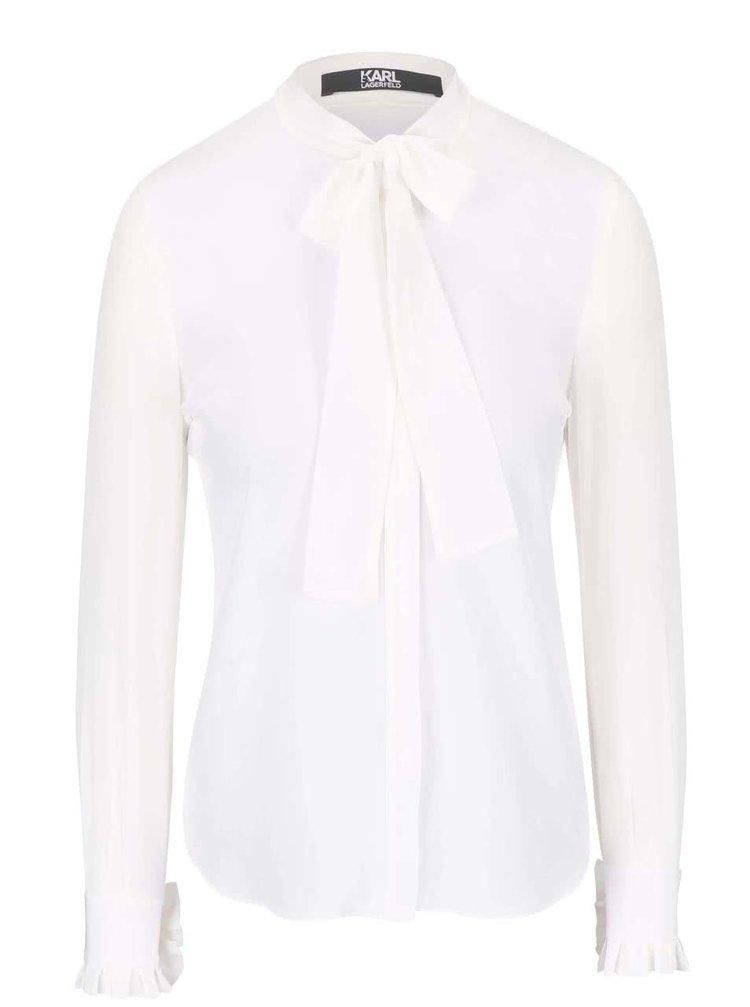Krémová hedvábná košile s vázankou KARL LAGERFELD