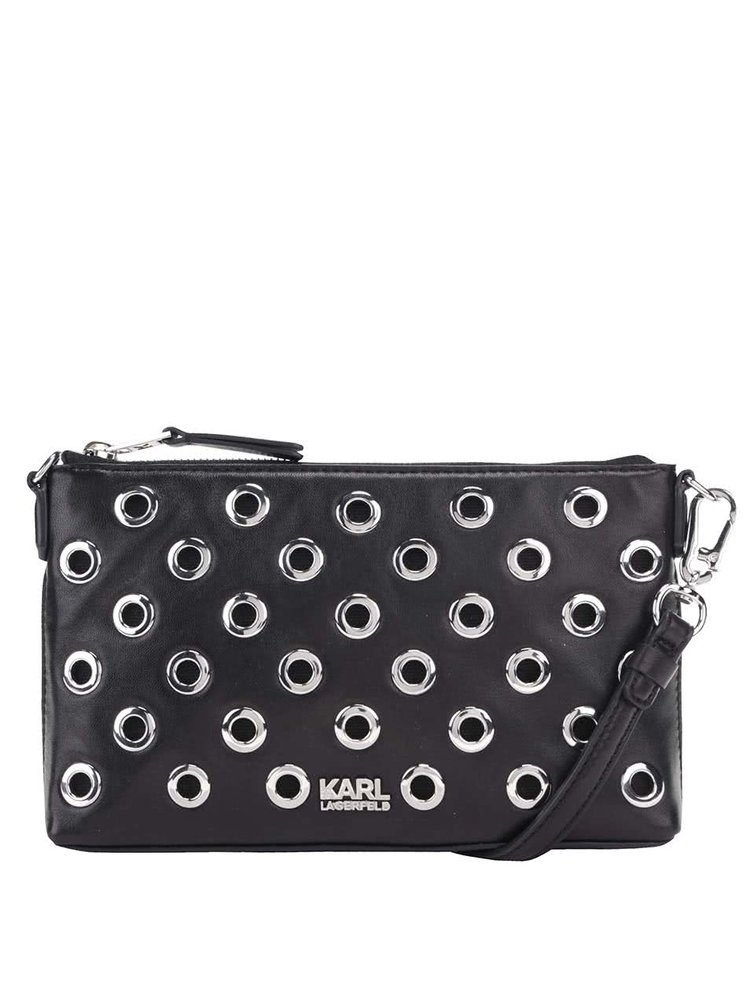 Černá kožená kabelka/psaníčko s detaily ve stříbrné barvě KARL LAGERFELD