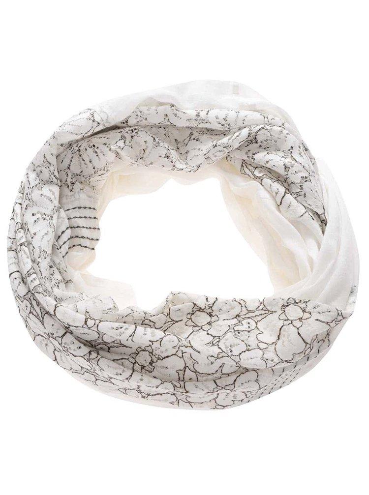 Hnědo-krémový dutý šátek s krajkou květů Pieces Brynild