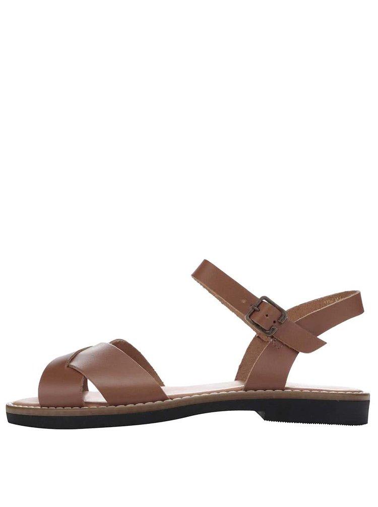 Hnědé kožené páskové sandály Pieces Jenica