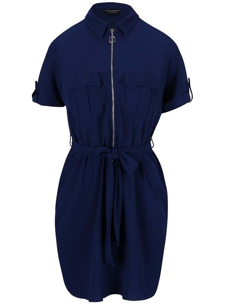 Tmavomodré šaty so zipsom Dorothy Perkins