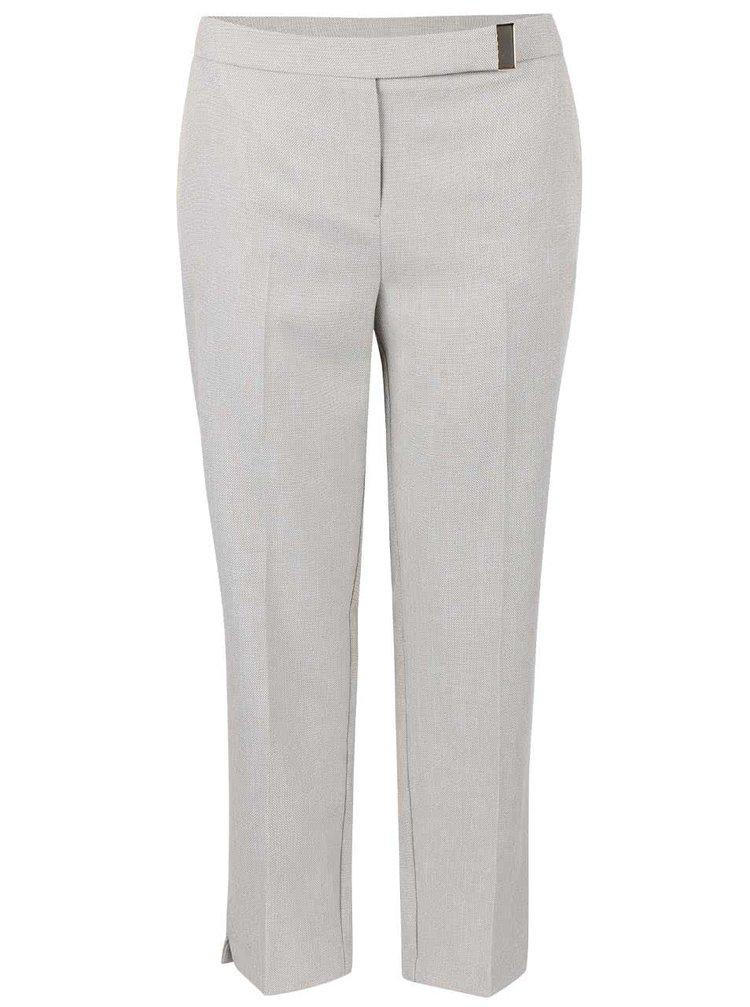 Krémovosivé osminkové nohavice s pukmi Dorothy Perkins