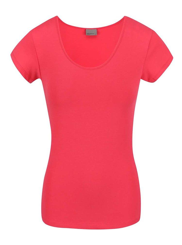 Růžové tričko s krátkým rukávem VERO MODA Maxi My
