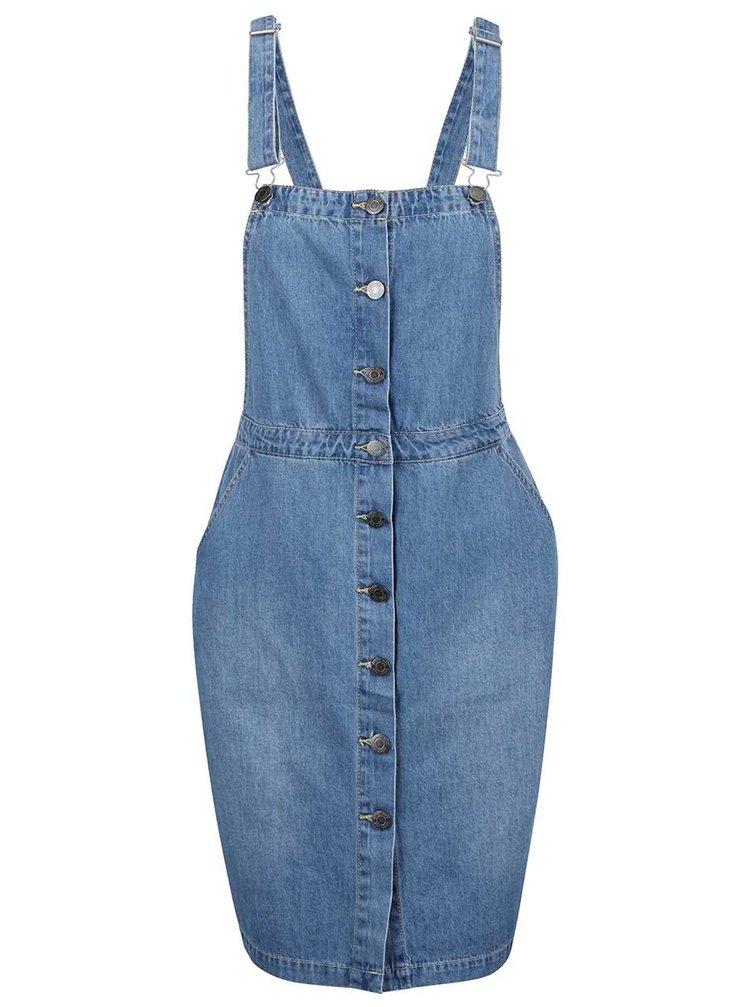 Modré rifľové šaty s trakmi Noisy May Nora