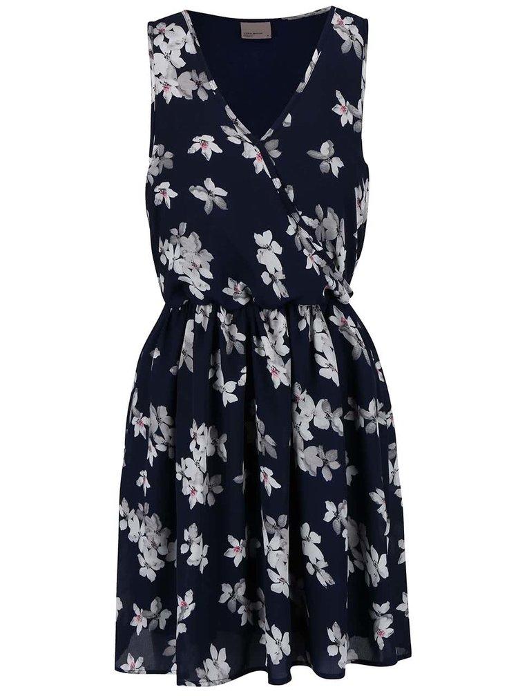 Tmavě modré květované šaty VERO MODA Dolly