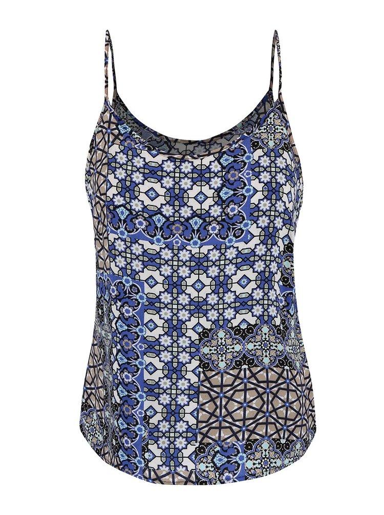 Krémovo-modré vzorované tielko VERO MODA Super Easy