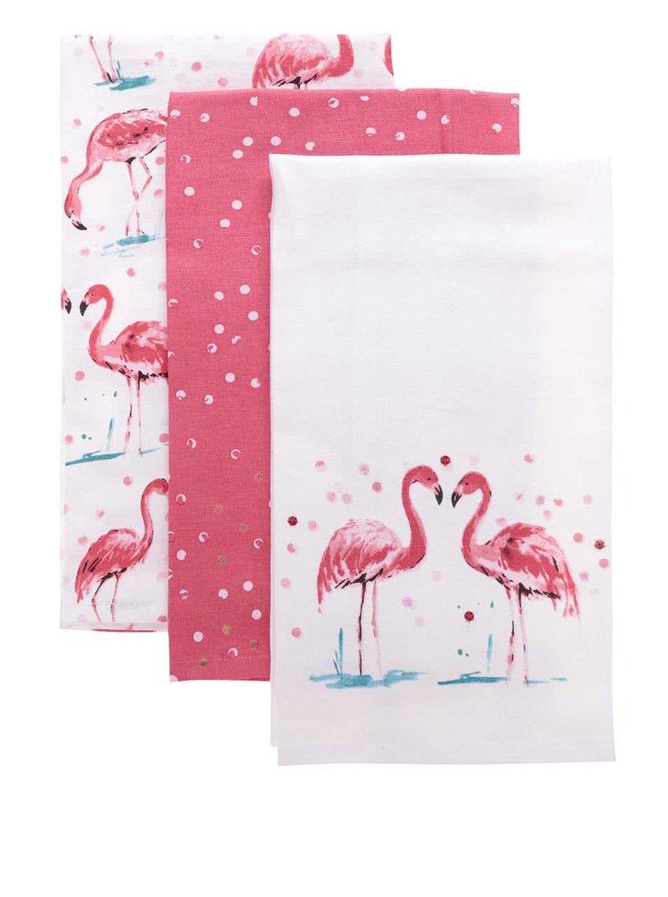 Sada tří bílo-korálových utěrek s plameňáky Cooksmart Flamingo