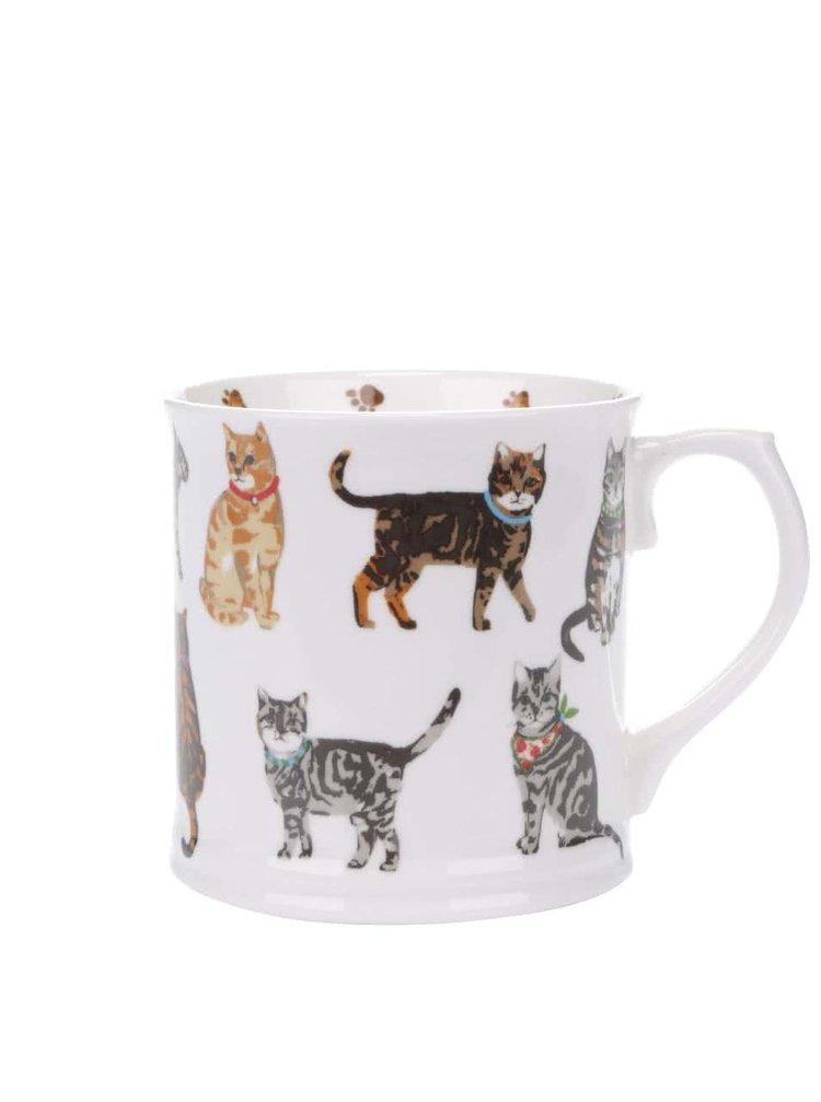 Biely porcelánový hrnček s motívom mačiek Cooksmart Cats on Parade