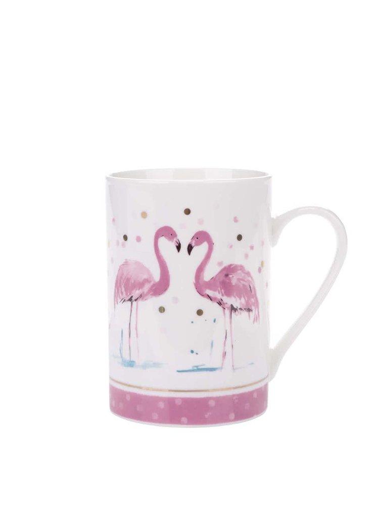 Růžovo-bílý porcelánový hrnek s motivy plameňáků Cooksmart Flamingo