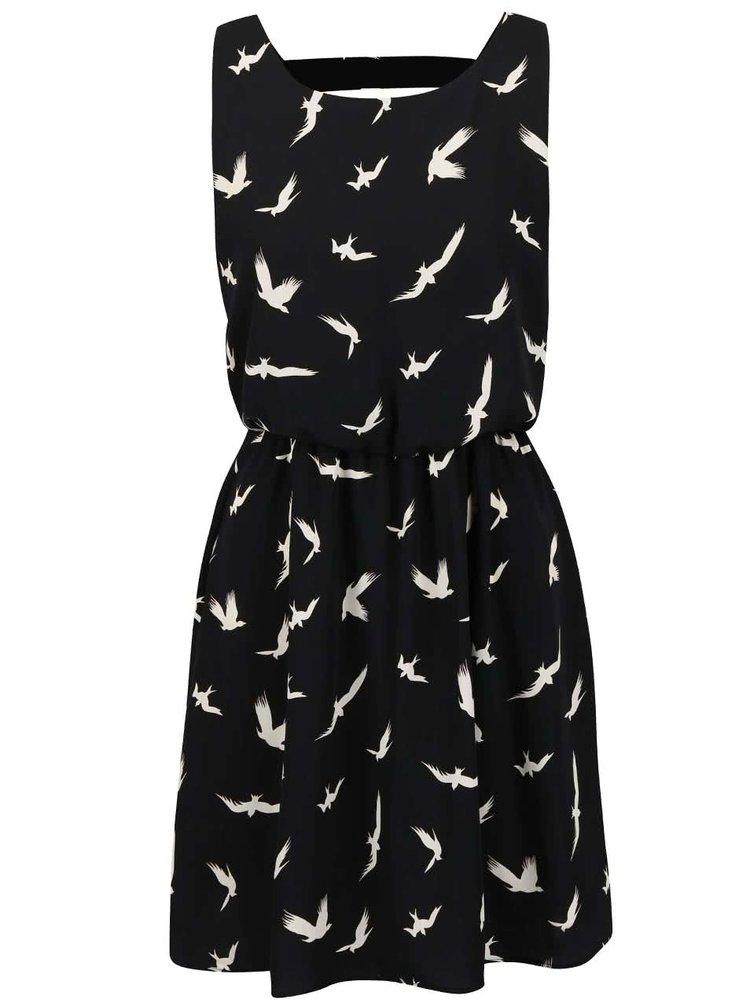 Černé šaty s potiskem ptáčků Alchymi Axinite
