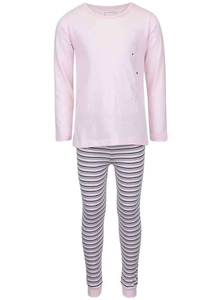 Ružové pruhované dievčenské dvojdielne pyžamo name it Ballerina