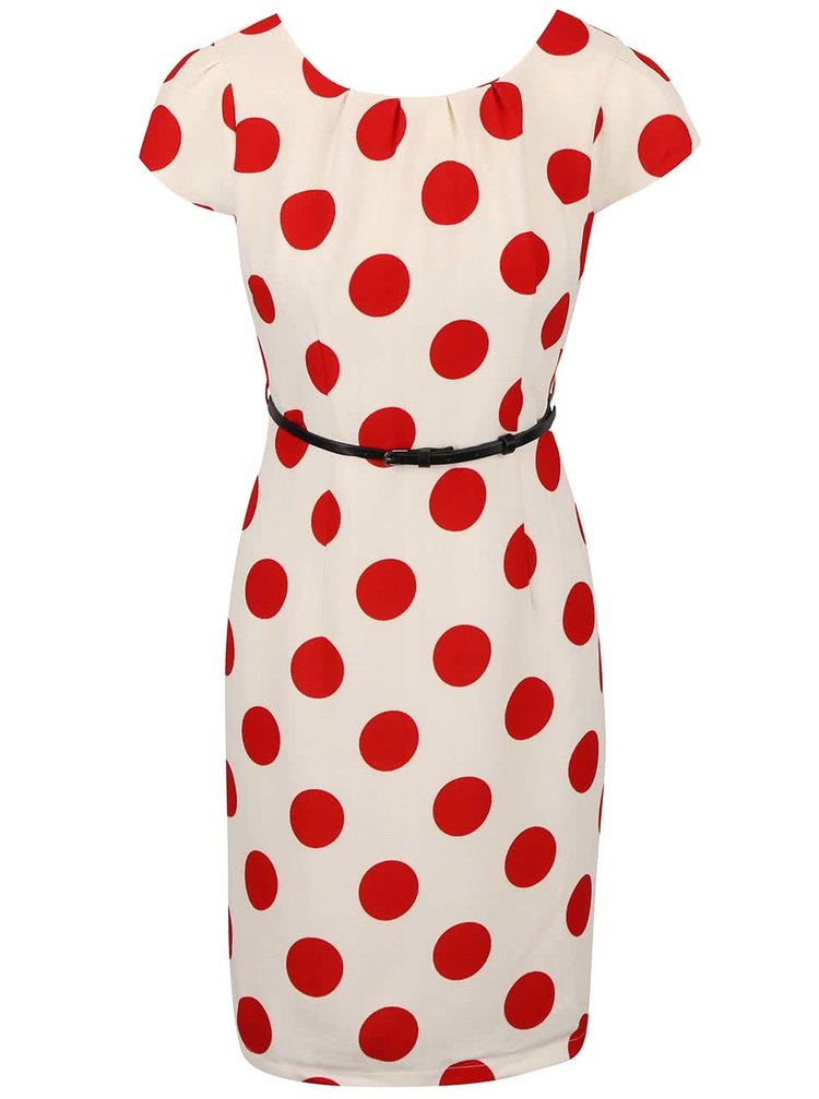 Krémové šaty s červenými puntíky a páskem Smashed Lemon