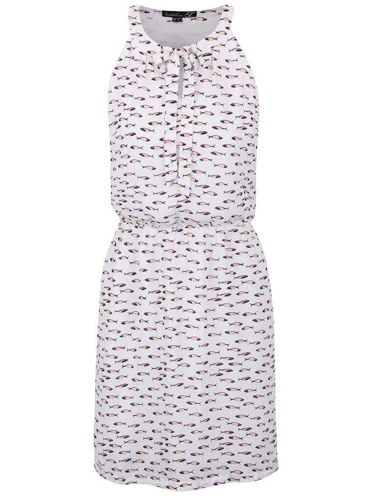 Bílé šaty stažené v pase s rybičkami Smashed Lemon