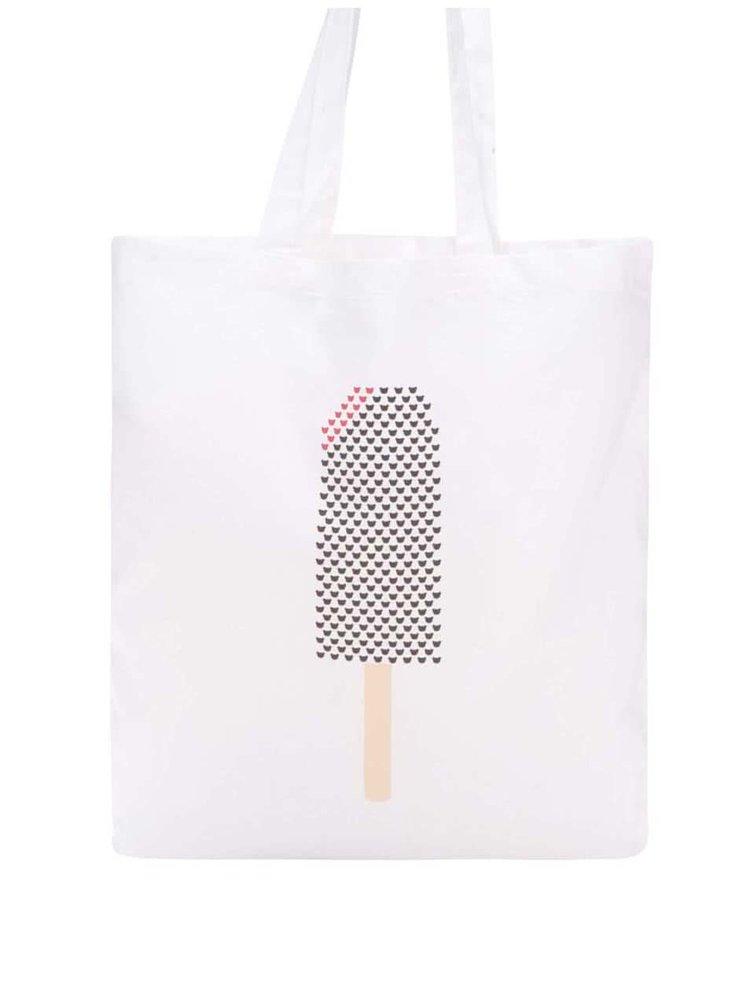 Bílá plátěná taška s potiskem nanuku Míša
