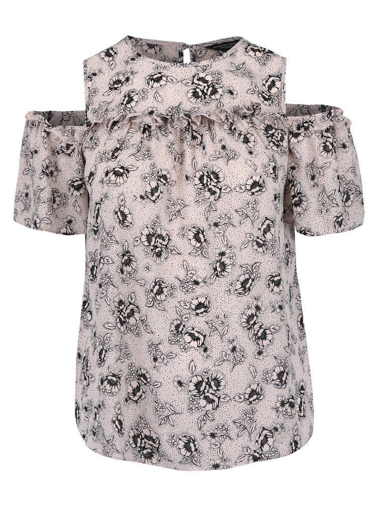 Růžová květovaná halenka s průstřihy na ramenou Dorothy Perkins Curve