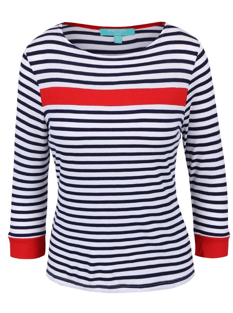 Bluză Fever London Bardot alb cu roșu și dungi albastre