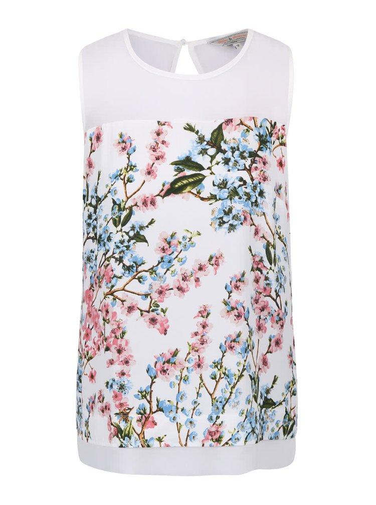 Bluză fără mâneci Dorothy Perkins albă cu imprimeu